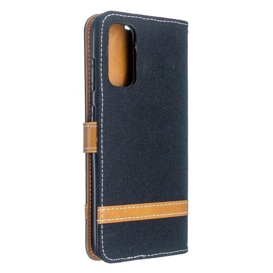 For Galaxy S20 Color Matching Denim Texture Horizontal Flip PU Leather Case with Holder & Card Slots & Wallet & Lanyard(Black) - 3