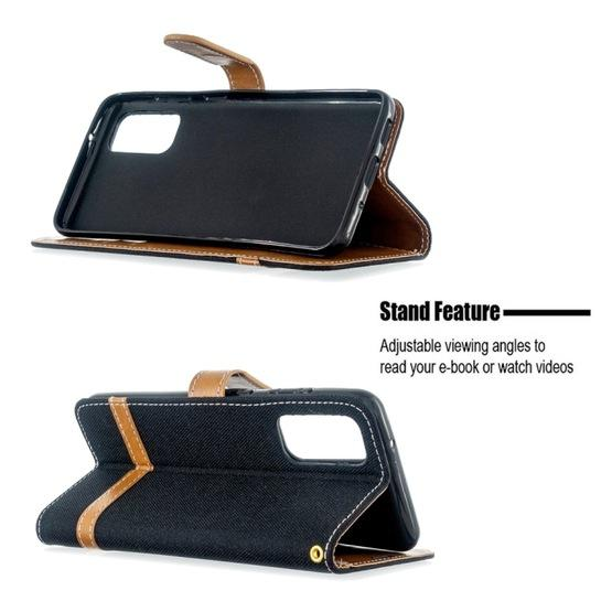 For Galaxy S20 Color Matching Denim Texture Horizontal Flip PU Leather Case with Holder & Card Slots & Wallet & Lanyard(Black) - 4