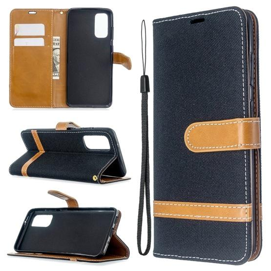 For Galaxy S20 Color Matching Denim Texture Horizontal Flip PU Leather Case with Holder & Card Slots & Wallet & Lanyard(Black) - 6