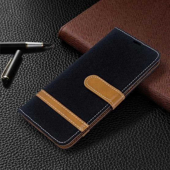 For Galaxy S20 Color Matching Denim Texture Horizontal Flip PU Leather Case with Holder & Card Slots & Wallet & Lanyard(Black) - 7