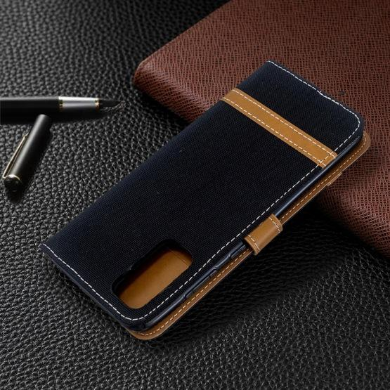 For Galaxy S20 Color Matching Denim Texture Horizontal Flip PU Leather Case with Holder & Card Slots & Wallet & Lanyard(Black) - 8