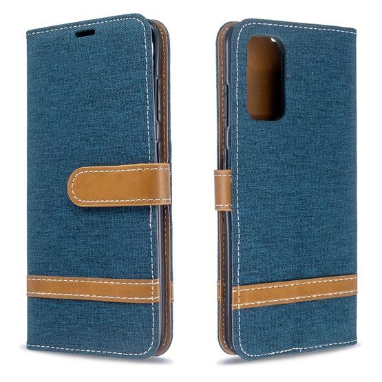For Galaxy S20 Color Matching Denim Texture Horizontal Flip PU Leather Case with Holder & Card Slots & Wallet & Lanyard(Dark Blue) - 1