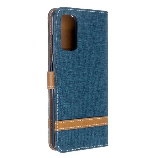 For Galaxy S20 Color Matching Denim Texture Horizontal Flip PU Leather Case with Holder & Card Slots & Wallet & Lanyard(Dark Blue) - 3