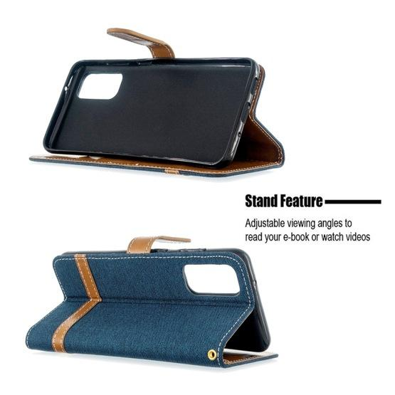 For Galaxy S20 Color Matching Denim Texture Horizontal Flip PU Leather Case with Holder & Card Slots & Wallet & Lanyard(Dark Blue) - 4