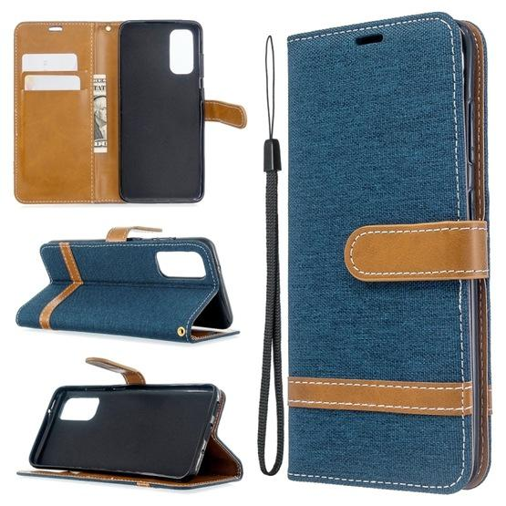 For Galaxy S20 Color Matching Denim Texture Horizontal Flip PU Leather Case with Holder & Card Slots & Wallet & Lanyard(Dark Blue) - 6