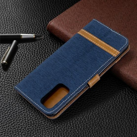 For Galaxy S20 Color Matching Denim Texture Horizontal Flip PU Leather Case with Holder & Card Slots & Wallet & Lanyard(Dark Blue) - 8