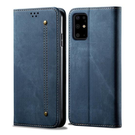For Galaxy S20 Denim Texture Casual Style Horizontal Flip Leather Case with Holder & Card Slots & Wallet(Blue) - 1