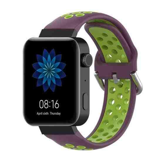 For Xiaomi Watch / Huawei Honor S1 18mm Two Color Sport Wrist Strap Watchband(Purple + Green) - 1