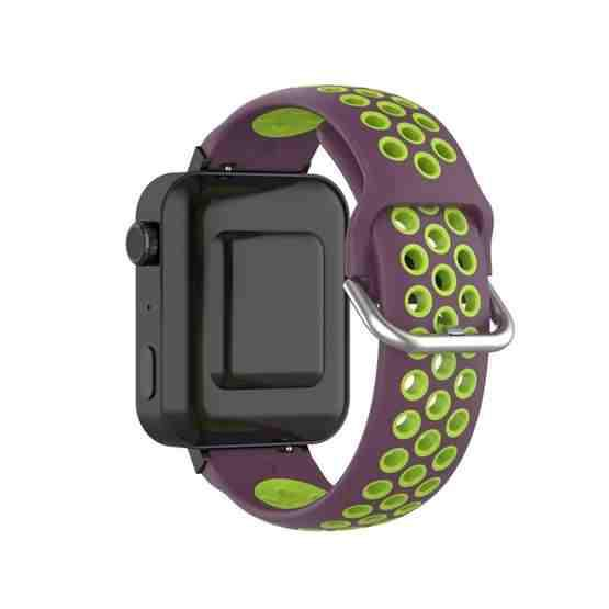 For Xiaomi Watch / Huawei Honor S1 18mm Two Color Sport Wrist Strap Watchband(Purple + Green) - 3