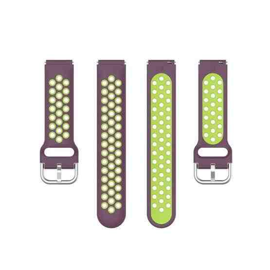 For Xiaomi Watch / Huawei Honor S1 18mm Two Color Sport Wrist Strap Watchband(Purple + Green) - 4