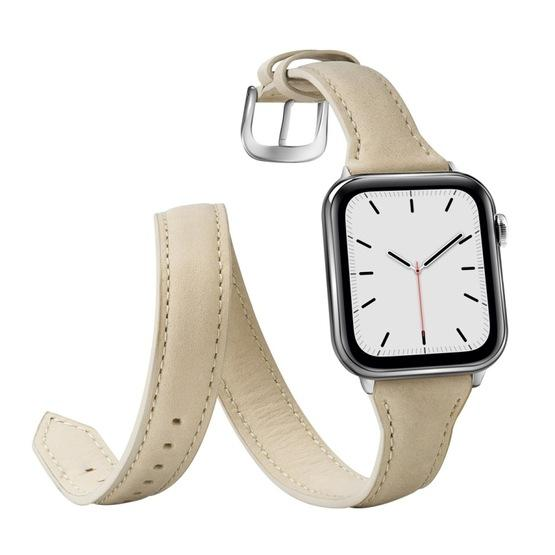 For Apple Wacth 5/4 40mm & 3/2/1 38mm Thin Genuine Leather Double-loop Replacement Wrist Strap Watchband(Creamy-white) - 4