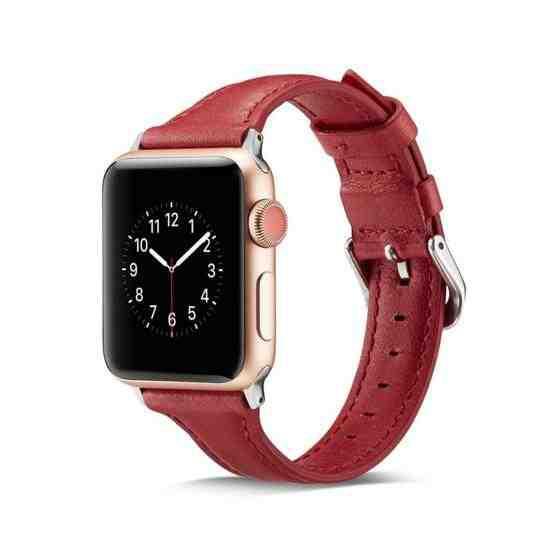 For Apple Wacth 5/4 40mm & 3/2/1 38mm Thin Leather Replacement Wrist Strap Watchband(Red) - 2
