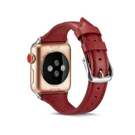 For Apple Wacth 5/4 40mm & 3/2/1 38mm Thin Leather Replacement Wrist Strap Watchband(Red) - 3