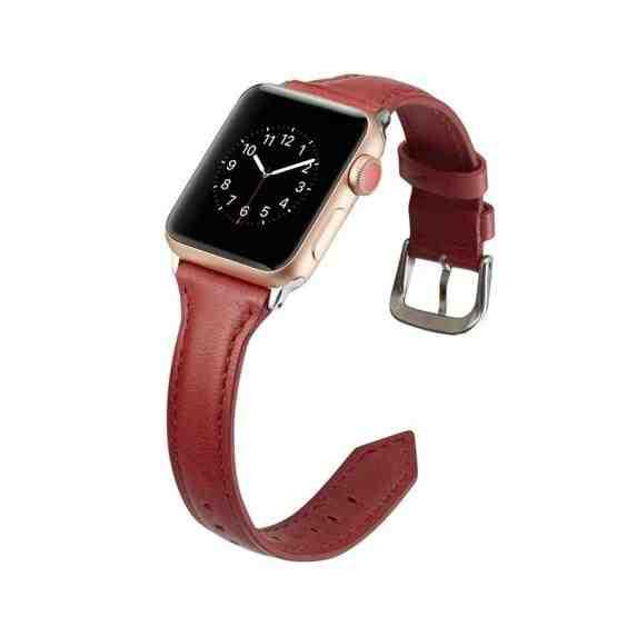 For Apple Wacth 5/4 40mm & 3/2/1 38mm Thin Leather Replacement Wrist Strap Watchband(Red) - 4