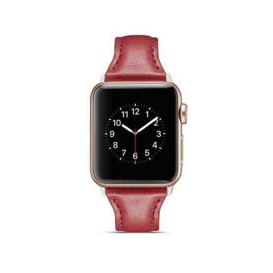 For Apple Wacth 5/4 40mm & 3/2/1 38mm Thin Leather Replacement Wrist Strap Watchband(Red) - 5
