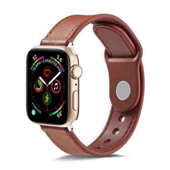 For Apple Watch Series 6 & SE & 5 & 4 40mm / 3 & 2 & 1 38mm Single Buckle TPU+ Genuine Leather Watchband(Brown) - 1
