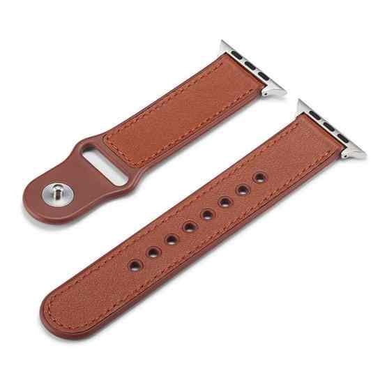 For Apple Watch Series 6 & SE & 5 & 4 40mm / 3 & 2 & 1 38mm Single Buckle TPU+ Genuine Leather Watchband(Brown) - 2