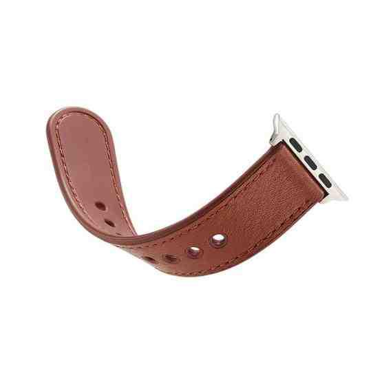 For Apple Watch Series 6 & SE & 5 & 4 40mm / 3 & 2 & 1 38mm Single Buckle TPU+ Genuine Leather Watchband(Brown) - 3
