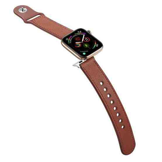 For Apple Watch Series 6 & SE & 5 & 4 40mm / 3 & 2 & 1 38mm Single Buckle TPU+ Genuine Leather Watchband(Brown) - 4