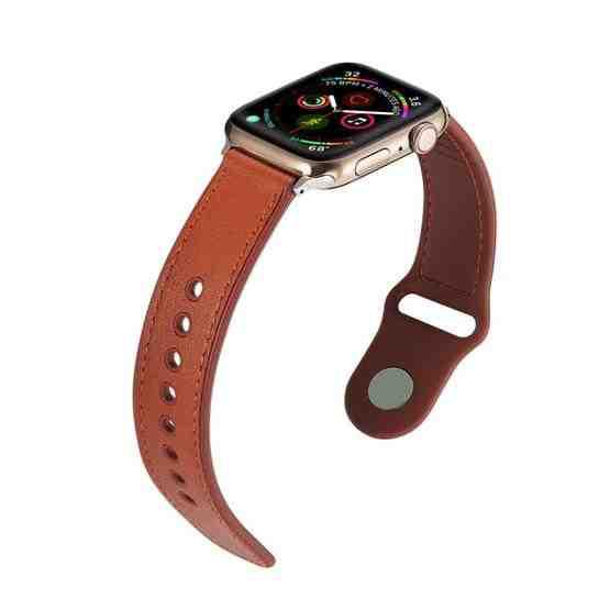 For Apple Watch Series 6 & SE & 5 & 4 40mm / 3 & 2 & 1 38mm Single Buckle TPU+ Genuine Leather Watchband(Brown) - 5