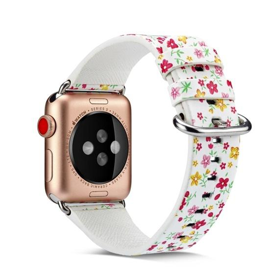 For Apple Watch Series 6 & SE & 5 & 4 44mm / 3 & 2 & 1 42mm Floral Leather Watchband(F5) - 1