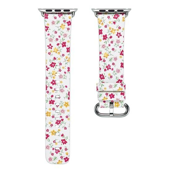 For Apple Watch Series 6 & SE & 5 & 4 44mm / 3 & 2 & 1 42mm Floral Leather Watchband(F5) - 2