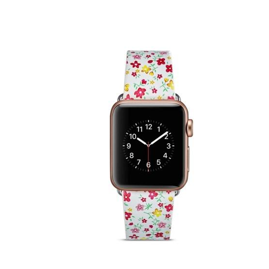 For Apple Watch Series 6 & SE & 5 & 4 44mm / 3 & 2 & 1 42mm Floral Leather Watchband(F5) - 3