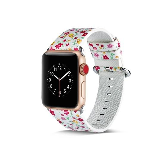 For Apple Watch Series 6 & SE & 5 & 4 44mm / 3 & 2 & 1 42mm Floral Leather Watchband(F5) - 4