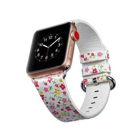 For Apple Watch Series 6 & SE & 5 & 4 44mm / 3 & 2 & 1 42mm Floral Leather Watchband(F5) - 5