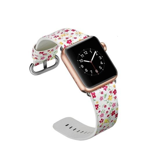 For Apple Watch Series 6 & SE & 5 & 4 44mm / 3 & 2 & 1 42mm Floral Leather Watchband(F5) - 6