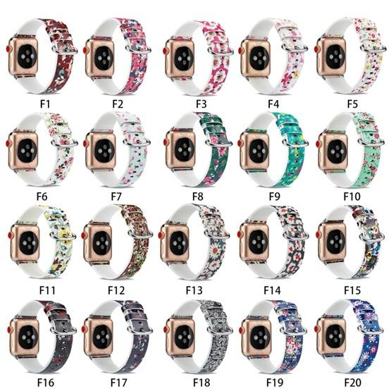 For Apple Watch Series 6 & SE & 5 & 4 44mm / 3 & 2 & 1 42mm Floral Leather Watchband(F5) - 8