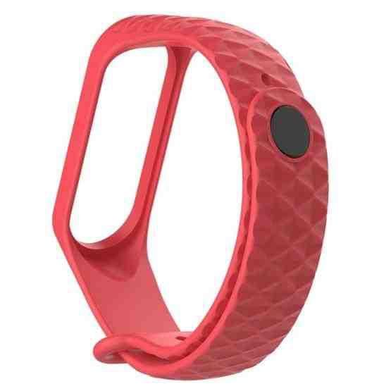 For Xiaomi 3 / 4 Strap Diamond Texture Silicone Strap,Belt Length:23cm(Red) - 1