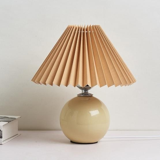 Pleated Lampshade Cozy Bedside Night Light Modern Ceramic Desk Lamp 220V(Beige Body+Coffee Cover) - 1