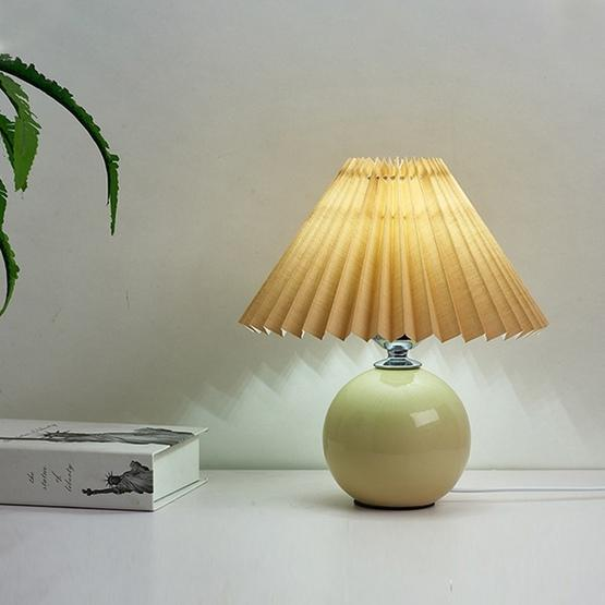 Pleated Lampshade Cozy Bedside Night Light Modern Ceramic Desk Lamp 220V(Beige Body+Coffee Cover) - 2