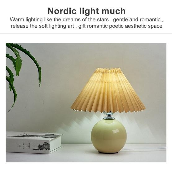 Pleated Lampshade Cozy Bedside Night Light Modern Ceramic Desk Lamp 220V(Beige Body+Coffee Cover) - 5