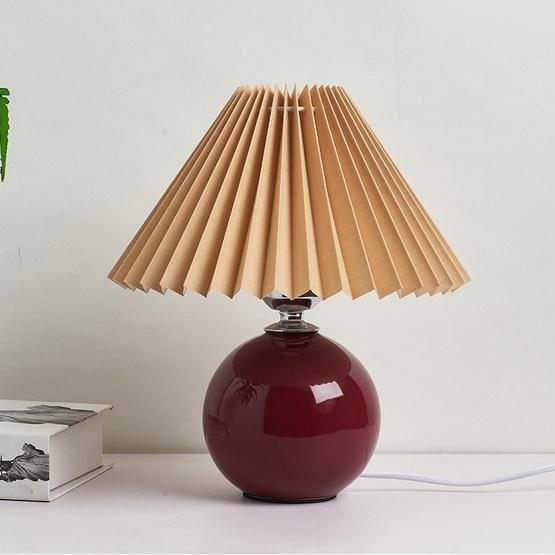 Pleated Lampshade Cozy Bedside Night Light Modern Ceramic Desk Lamp 220V(Wine Red Body+Coffee Cover) - 1