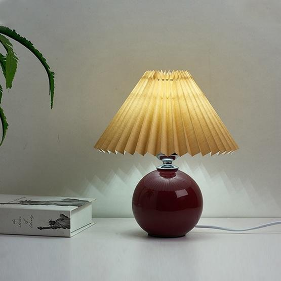 Pleated Lampshade Cozy Bedside Night Light Modern Ceramic Desk Lamp 220V(Wine Red Body+Coffee Cover) - 2