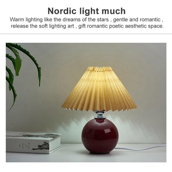 Pleated Lampshade Cozy Bedside Night Light Modern Ceramic Desk Lamp 220V(Wine Red Body+Coffee Cover) - 5