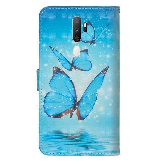 For OPPO A5 (2020) / A9 (2020) 3D Painting Pattern Horizontal Flip TPU + PU Leather Case with Holder & Card Slots & Wallet(Three Butterfly) - 3