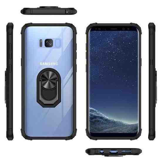 For Samsung Galaxy S8+ Shockproof Transparent TPU + Acrylic Protective Case with Ring Holder(Black and Silver) - 1