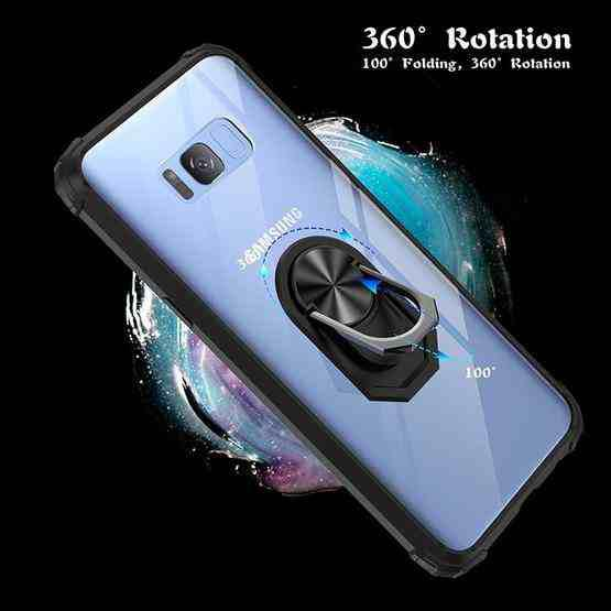 For Samsung Galaxy S8+ Shockproof Transparent TPU + Acrylic Protective Case with Ring Holder(Black and Silver) - 3