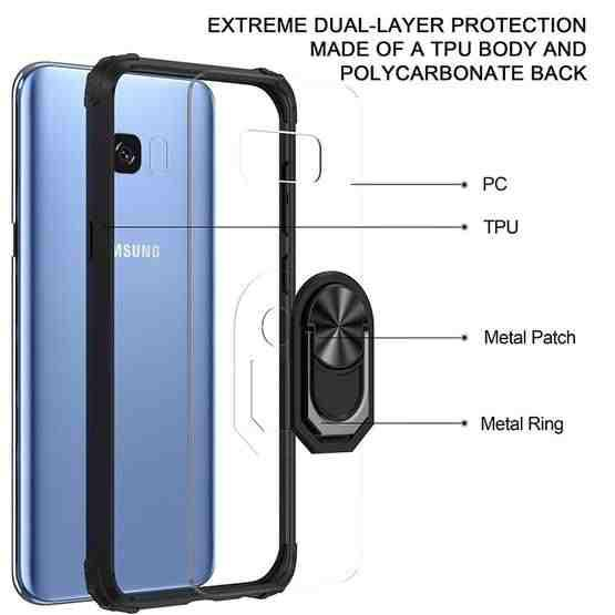 For Samsung Galaxy S8+ Shockproof Transparent TPU + Acrylic Protective Case with Ring Holder(Black) - 2