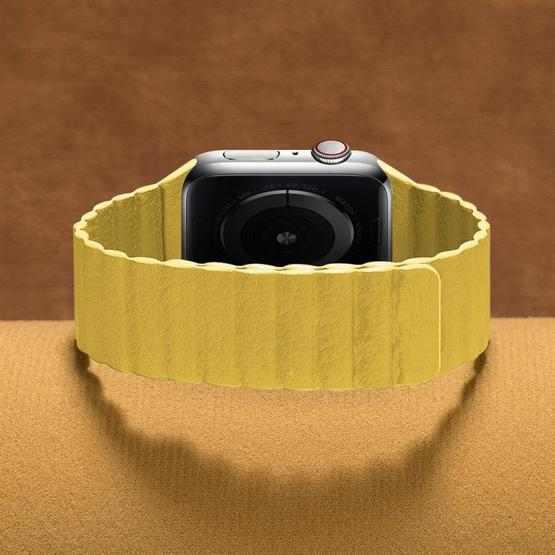 Two Loop Magnetic Replacement Strap Watchband For Apple Watch Series 6 & SE & 5 & 4 40mm / 3 & 2 & 1 38mm(Yellow) - 3