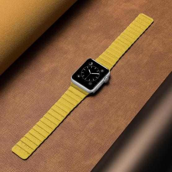 Two Loop Magnetic Replacement Strap Watchband For Apple Watch Series 6 & SE & 5 & 4 40mm / 3 & 2 & 1 38mm(Yellow) - 4