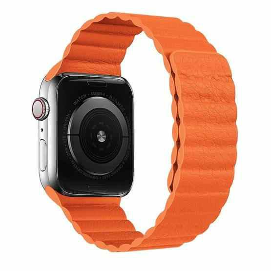Two Loop Magnetic Replacement Strap Watchband For Apple Watch Series 6 & SE & 5 & 4 44mm / 3 & 2 & 1 42mm(Orange) - 1