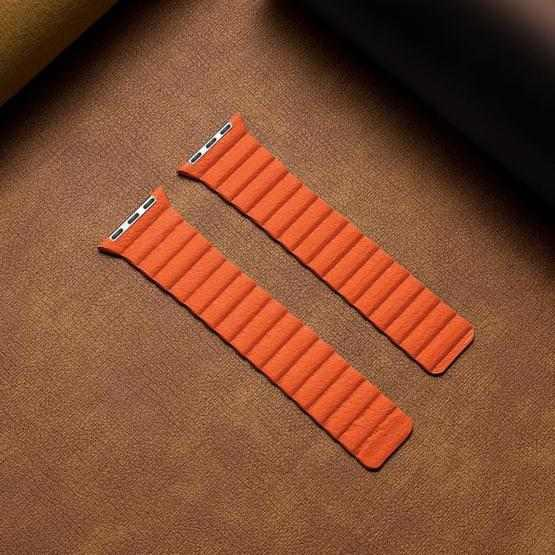 Two Loop Magnetic Replacement Strap Watchband For Apple Watch Series 6 & SE & 5 & 4 44mm / 3 & 2 & 1 42mm(Orange) - 2