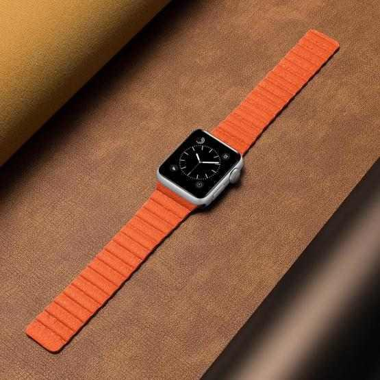 Two Loop Magnetic Replacement Strap Watchband For Apple Watch Series 6 & SE & 5 & 4 44mm / 3 & 2 & 1 42mm(Orange) - 4