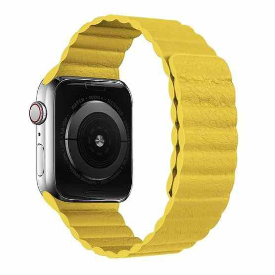 Two Loop Magnetic Replacement Strap Watchband For Apple Watch Series 6 & SE & 5 & 4 44mm / 3 & 2 & 1 42mm(Yellow) - 1