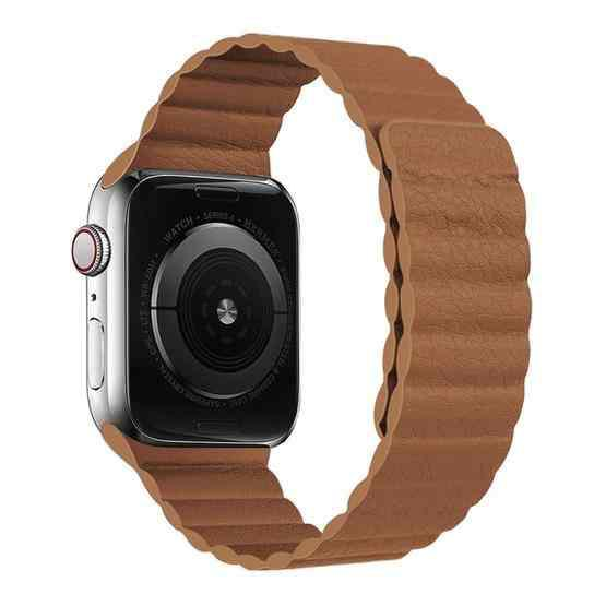 Two Loop Magnetic Replacement Strap Watchband For Apple Watch Series 6 & SE & 5 & 4 44mm / 3 & 2 & 1 42mm(Brown) - 1