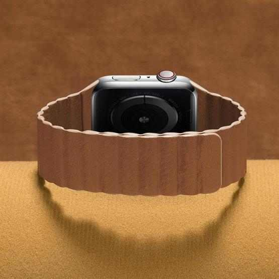 Two Loop Magnetic Replacement Strap Watchband For Apple Watch Series 6 & SE & 5 & 4 44mm / 3 & 2 & 1 42mm(Brown) - 3